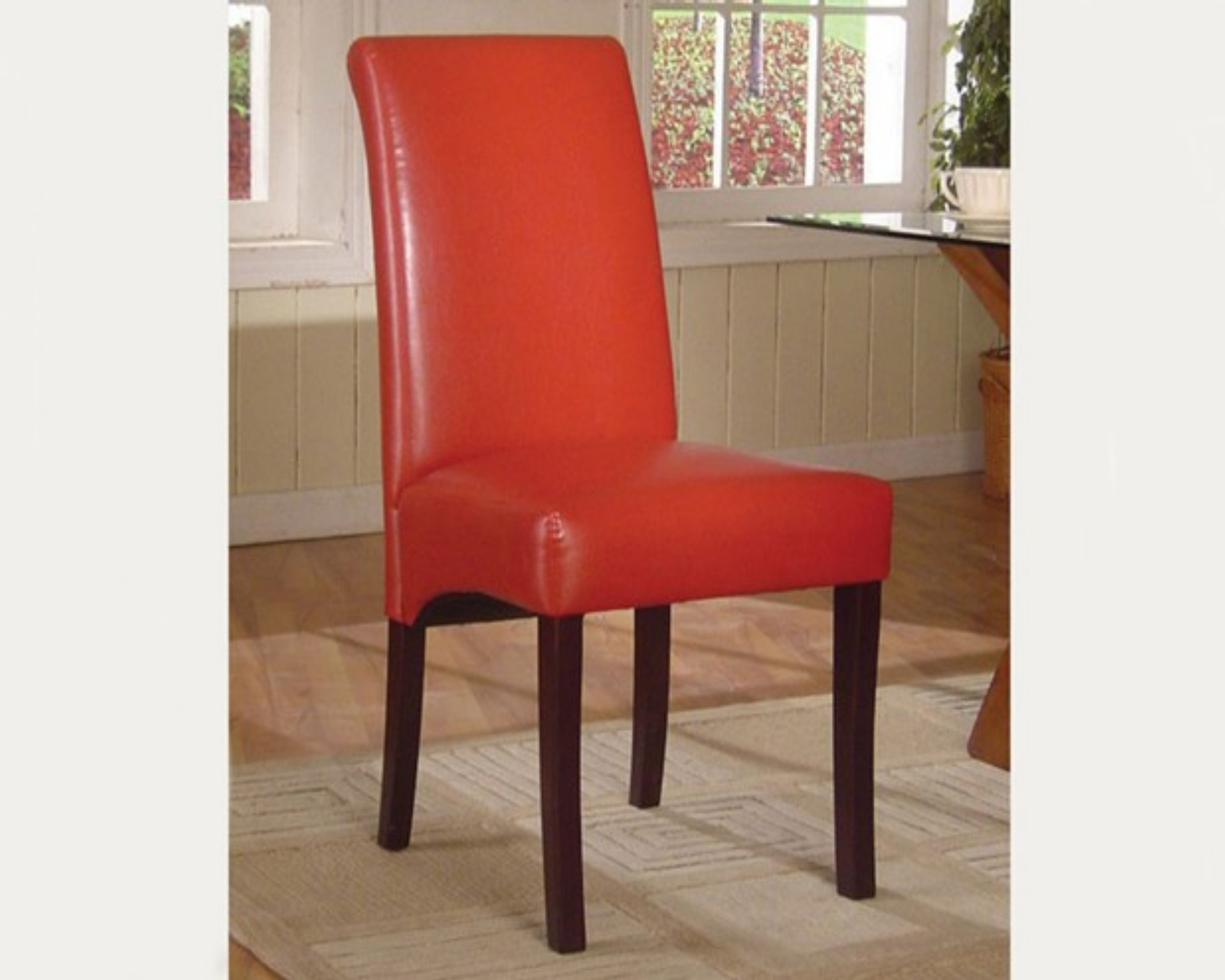 Parsons Leather Dining Chair Red