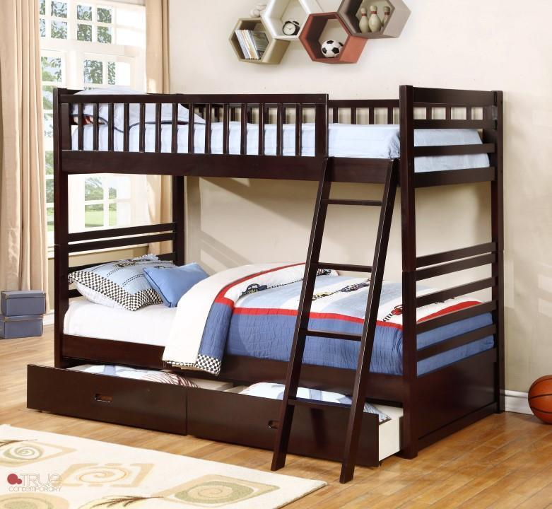 online retailer e0535 d52c2 Ashley Espresso Twin over Twin Bunk Bed with Storage Drawers and Solid Wood