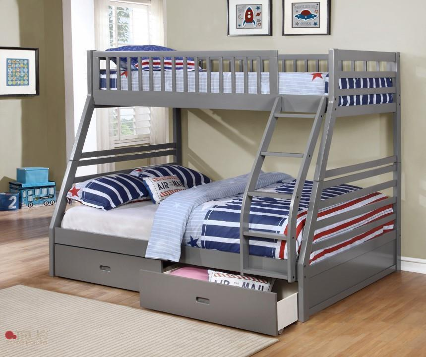 Ashley Grey Twin Over Full Bunk Bed With Storage Drawers And Solid Wood Canadian Liquidation