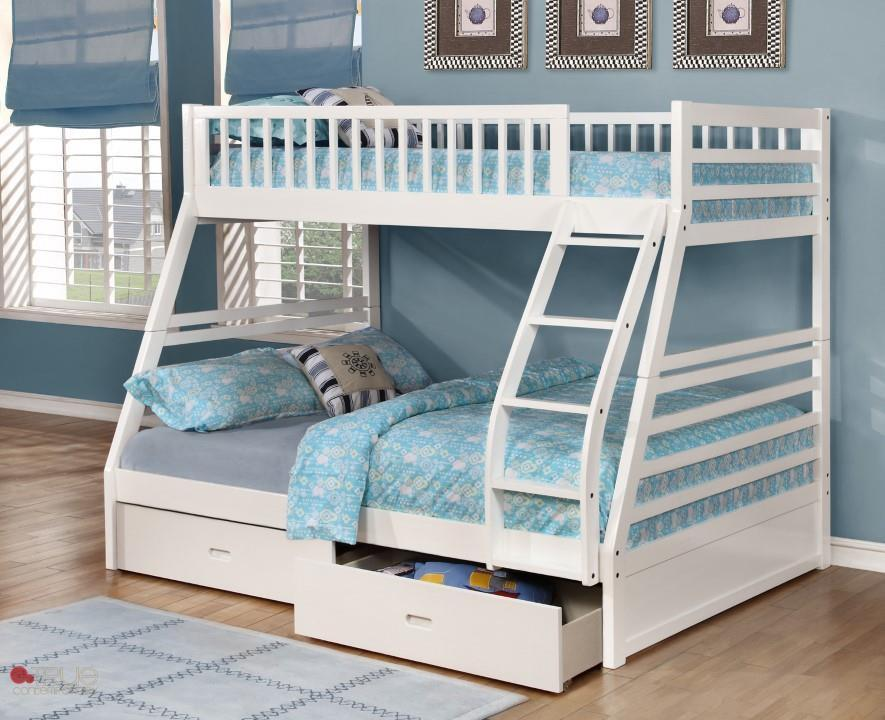 Ashley White Twin Over Full Bunk Bed With Storage Drawers And Solid Wood Canadian Liquidation