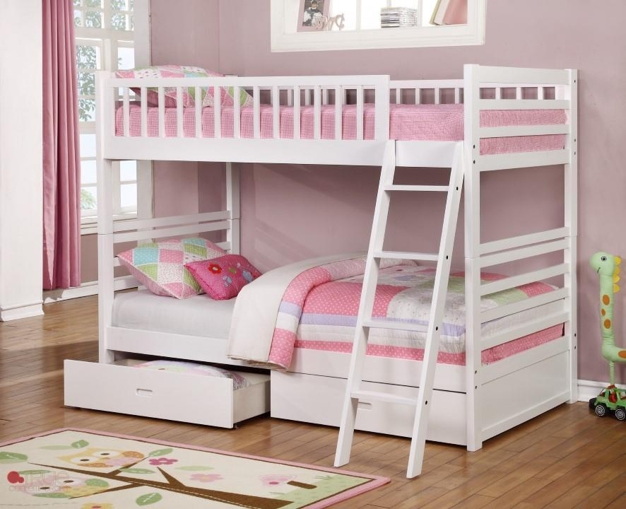Ashley White Twin Over Twin Bunk Bed With Storage Drawers And Solid Wood Canadian Liquidation